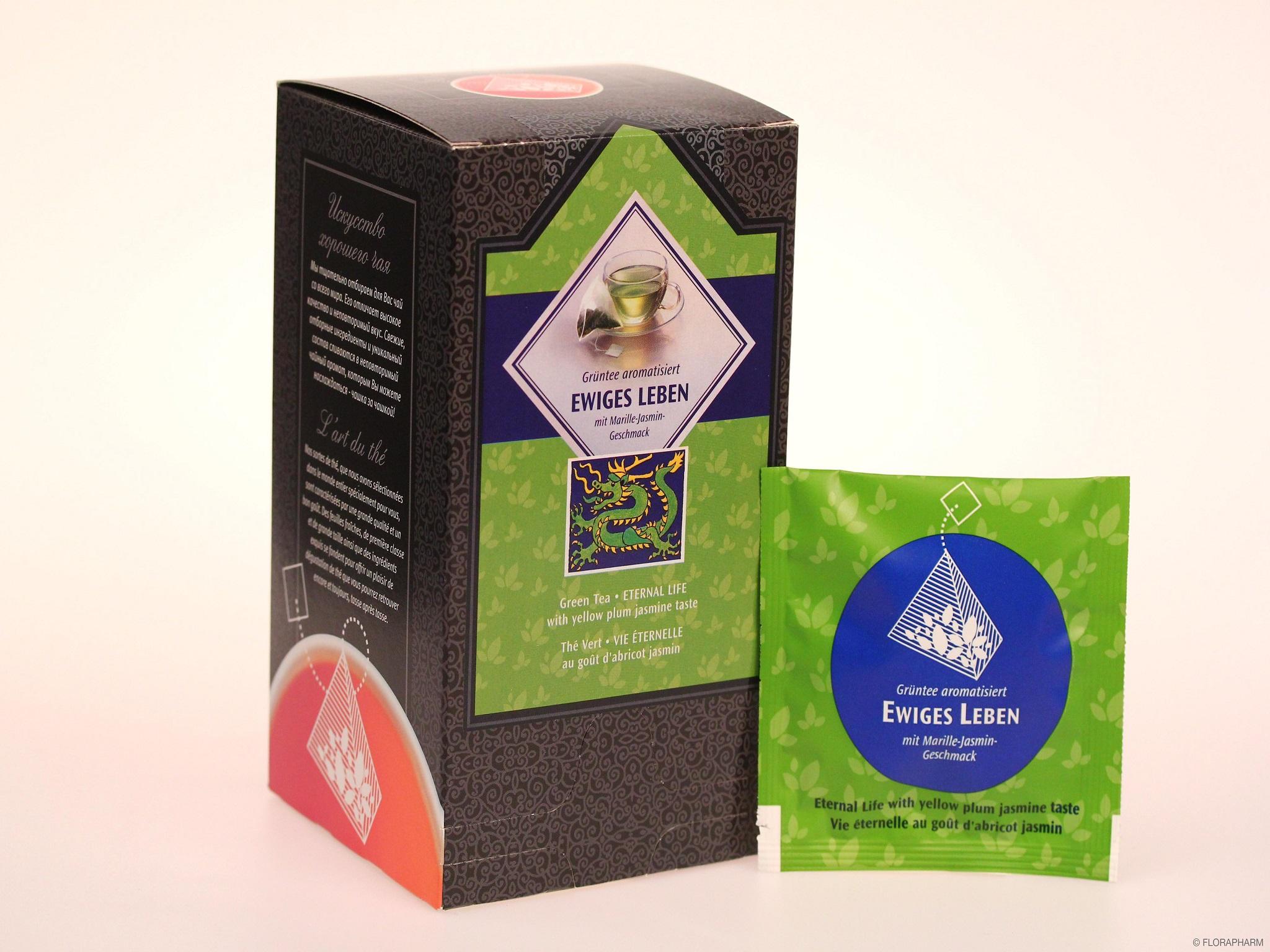 Tee-Pyramidenbeutel Ewiges Leben Grüner Tee