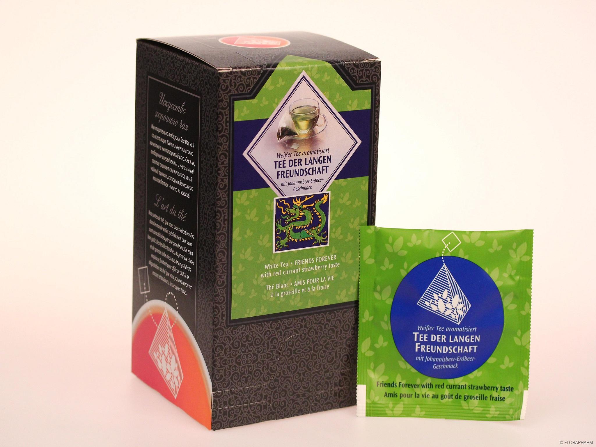 Tee-Pyramidenbeutel Tee der langen Freundschaft. Weißer Tee