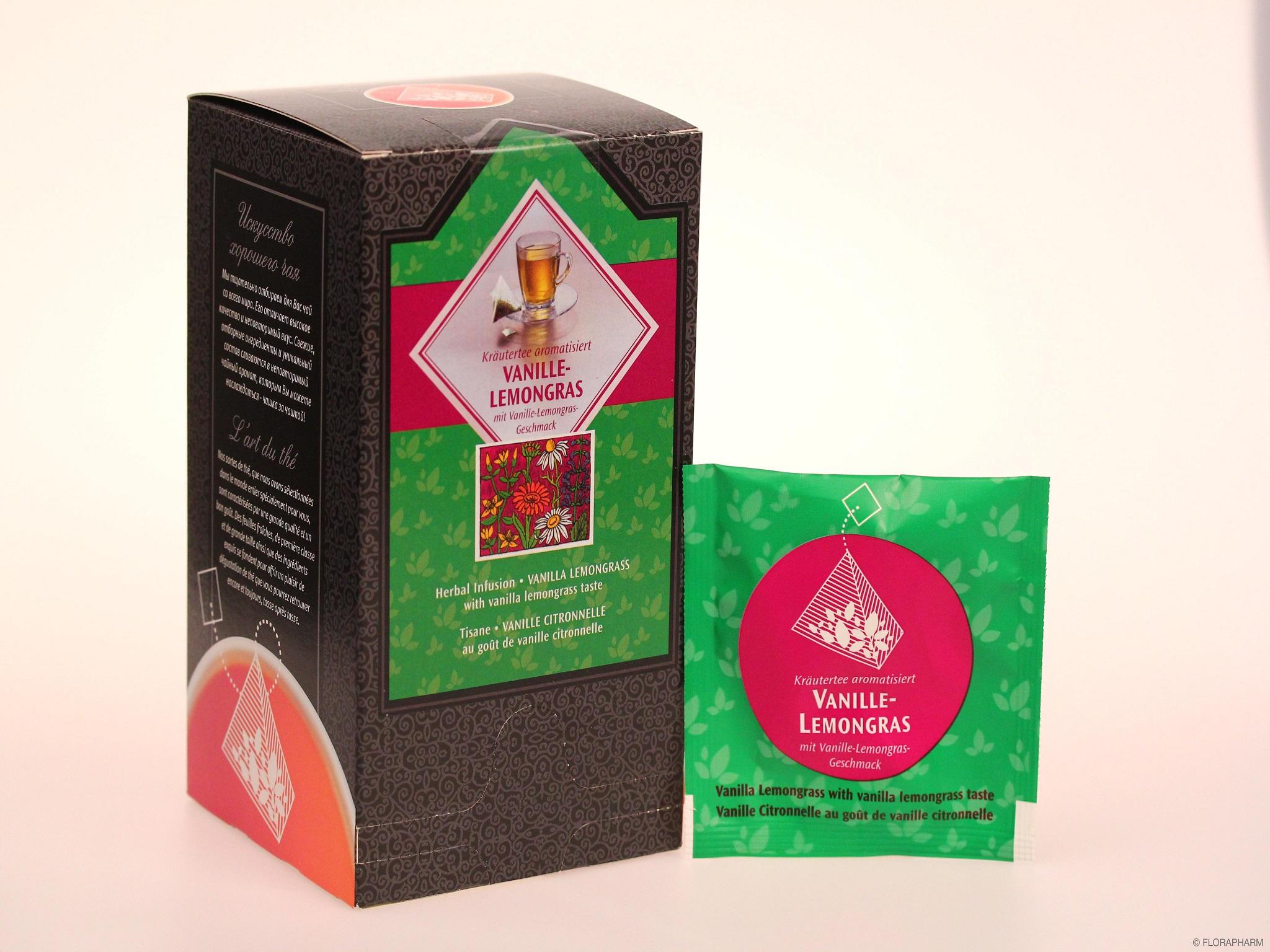 Tee-Pyramidenbeutel Vanille Lemongras. Kräutertee